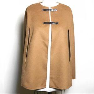 Zara Woman Sz S Handmade Wool Cape Camel Buckle